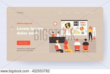 Female Speaker Standing In Front Of Presentation Isolated Flat Vector Illustration. Cartoon Audience