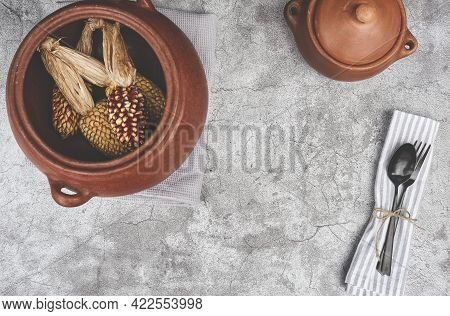 Decorated Cutlery, Fork And Knife On A Blue Napkin, Mockup. Selective Focus