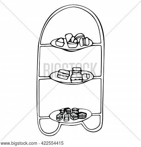 Tea Party Concept. Bridal Shower Concept. Hand Drawn Vector Illustration.