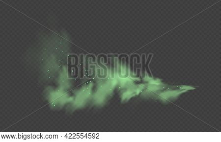 Green Dust. Abstract Blurry Smoke With Green Particles. Smoke Or Dust Isolated On Transparent Backgr