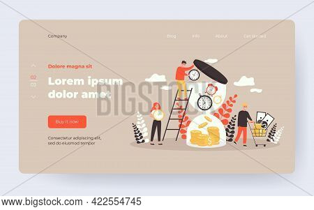 Tiny Rich People Bringing Clocks To Hourglass Isolated Flat Vector Illustration. Cartoon Watches Tra