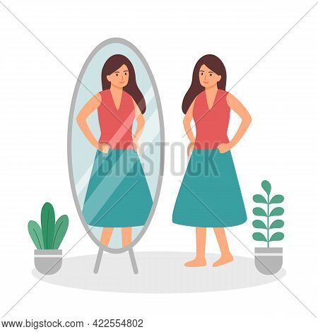 Woman Looking Herself Full Body In Mirror Flat Design On White Background. Self Confidence. Happy Fe