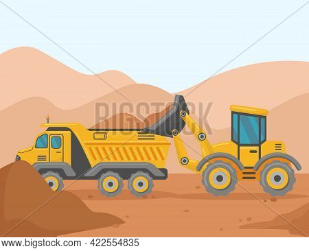 Loader And Tipper On Construction Site Cartoon Illustration. Yellow Vehicle Loading Soil Or Ground I