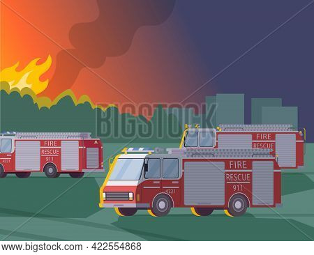 Fire Rescue Crew Extinguish Forest Fire. Red Fire Rescue Cars, Blazing Fire, City On Background. Nig