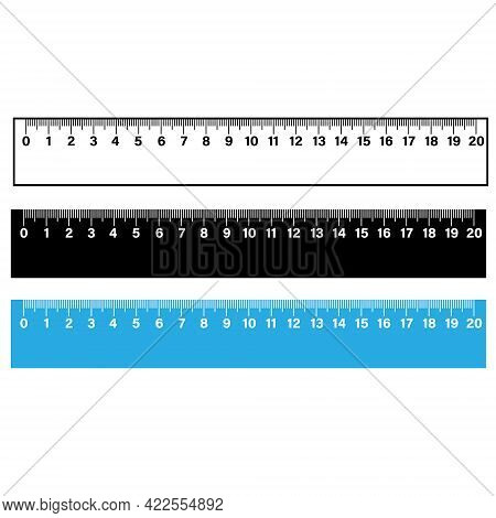 Ruler Scale Measure On White Background. Wooden Measuring Ruler 20 Centimeters. School Math Tool. Fl