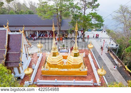 Chiangrai Province, Thailand - 25 Mar 2021, Wat Phra That Doi Tung From Above Birdeyes View, A Famou