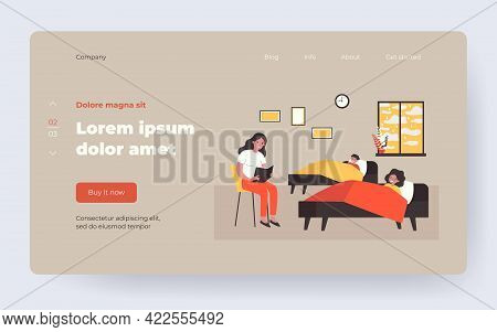 Mom Reading Bedtime Story To Kids. Fairytale, Book, Happy Children Lying In Bed Flat Vector Illustra