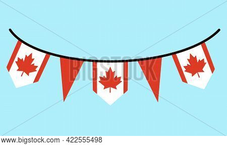 Flag Of Canada. Garland With A Red Maple Leaf On The Rope. Triangular And Rectangular Standards In W