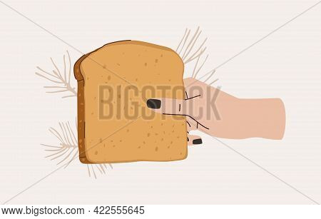 Hand Holds Loaf Of Bread Vector Illustration. Comic Style Flat Design. Breakfast Toast Concept.