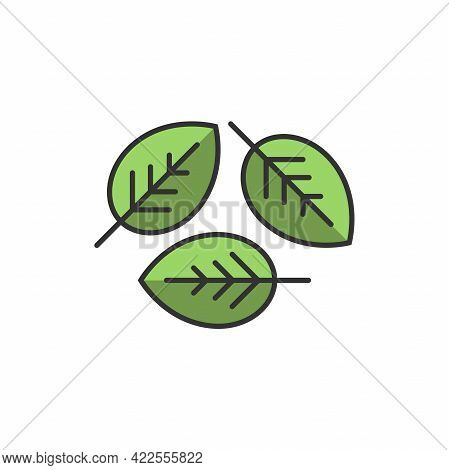 Three Leaves Eco Recycle Icon. Isolated On White. Vector Illustration. Green Flat Leaves. Leaf Reuse