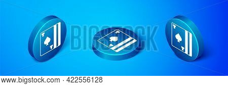 Isometric Deck Of Playing Cards Icon Isolated On Blue Background. Casino Gambling. Blue Circle Butto