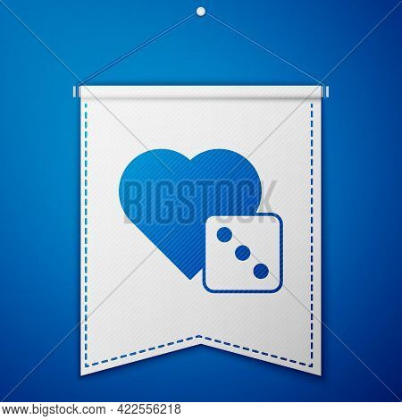 Blue Game Dice Icon Isolated On Blue Background. Casino Gambling. White Pennant Template. Vector