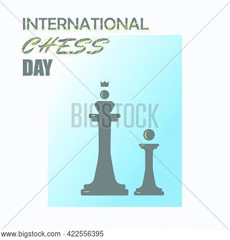 Black Queen And Pawn On The Blue Background.. Vector. International Chess Day