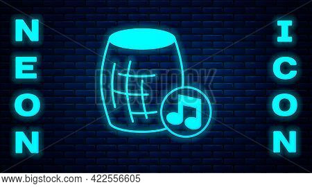 Glowing Neon Voice Assistant Icon Isolated On Brick Wall Background. Voice Control User Interface Sm