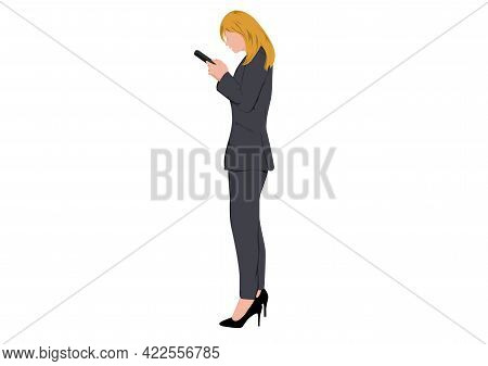 Businesswoman Standing And Using Smartphone For Connection Technology, Concept Using Smartphone For