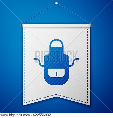 Blue Barber Apron Icon Isolated On Blue Background. Apron Of A Hairdresser With Pockets. White Penna