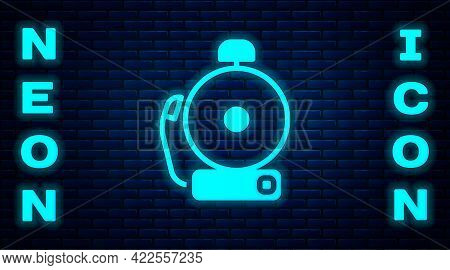 Glowing Neon Ringing Alarm Bell Icon Isolated On Brick Wall Background. Alarm Symbol, Service Bell,