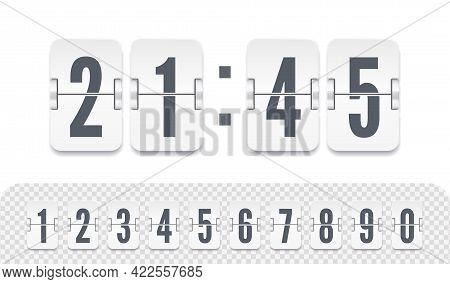 Vector Illustration Template. White Scoreboard Number Font. Vintage Flip Clock Time Counter. Flip Co