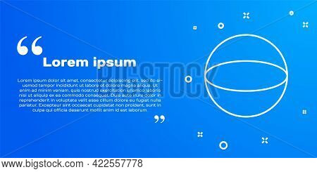 White Line Geometric Figure Sphere Icon Isolated On Blue Background. Abstract Shape. Geometric Ornam