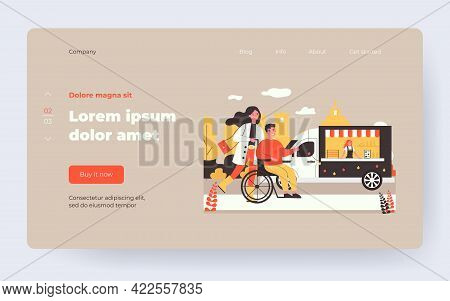 Woman And Man In Wheelchair Walking Outside. City Part, Disabled Person, Assistant Flat Vector Illus
