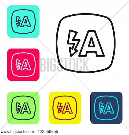 Black Line Auto Flash Icon Isolated On White Background. Automatic Flash. Set Icons In Color Square