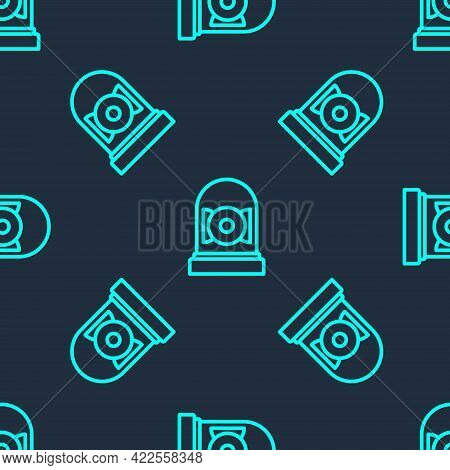 Green Line Ringing Alarm Bell Icon Isolated Seamless Pattern On Blue Background. Alarm Symbol, Servi
