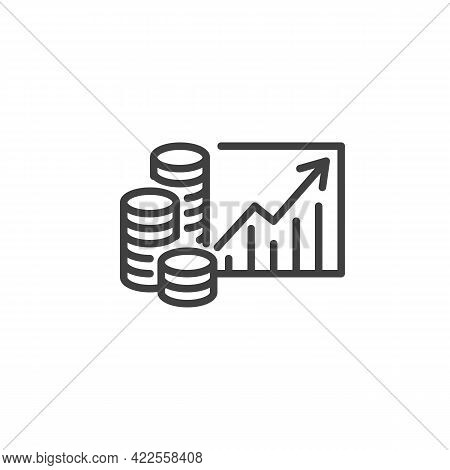 Money Revenue Graph Line Icon. Linear Style Sign For Mobile Concept And Web Design. Money Growth Cha