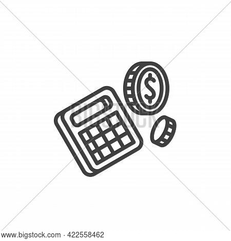 Financial Calculator Line Icon. Accounting Linear Style Sign For Mobile Concept And Web Design. Calc