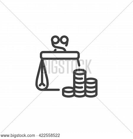 Money Wallet Line Icon. Linear Style Sign For Mobile Concept And Web Design. Wallet With Coins Outli
