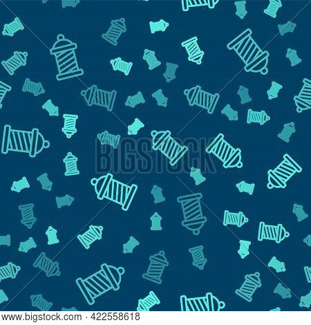Green Line Classic Barber Shop Pole Icon Isolated Seamless Pattern On Blue Background. Barbershop Po