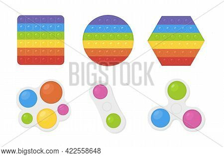 Vector Set Of Popular Pop It Fidgets In Rainbow Colors And Simple Dimple Hand Toy. Antistress, Relax
