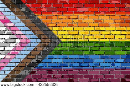 Rebooted Pride Flag On A Brick Wall - Illustration,   Progress Pride Flag