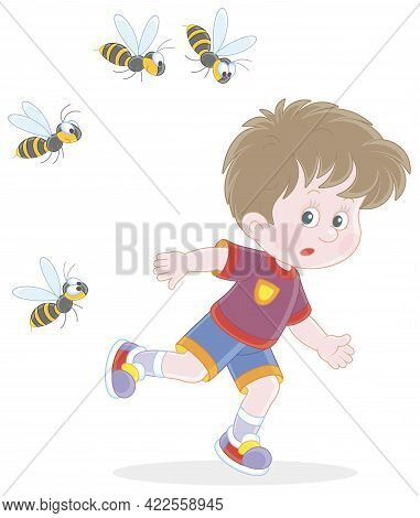 Afraid Little Boy Running Away From A Swarm Of Angry Wasps Flying And Humming Around Him, Vector Car