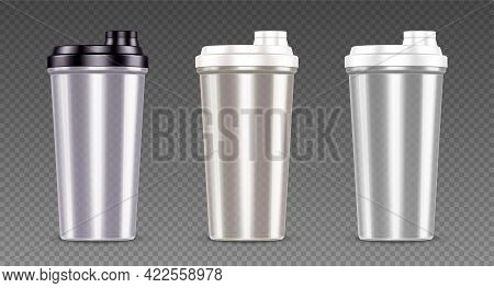 Plastic Bottle For Protein Shake, Sport Drink And Whey. Empty Clear Cups With Black And White Lids.