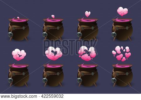 Cauldron With Love Potion Motion Sequence Animation. Pink Heart Cloud Of Magic Elixir Appear From Wi