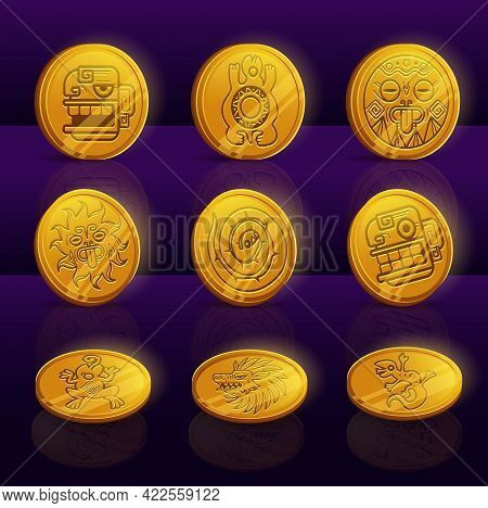 Set Of Gold Coins With Mayan Or Aztec Tribal Animals And Idols. Ui Game Assets, Mexican Mesoamerican