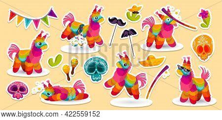 Set Of Stickers Mexican Donkey Pinata, Bat, Sugar Skulls And Sombrero With Maracas Or Cacti. Colorfu