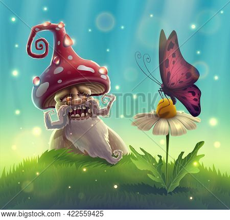Funny Mushroom In Summer Garden With Magic Smile Looks At Butterfly On Flower In Fantasy Forest. Lan