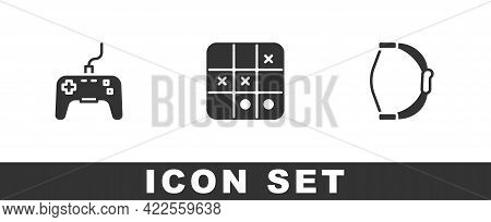 Set Gamepad, Tic Tac Toe Game And Bow Toy Icon. Vector