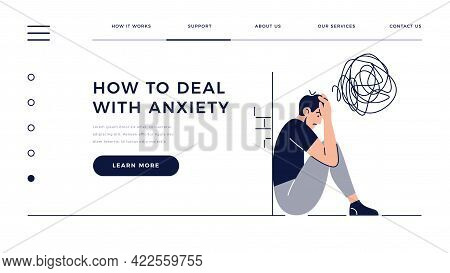 Anxiety Homepage Template. Frustrated Stressed Man With Nervous Problem Feels Anxiety, Closing Face.