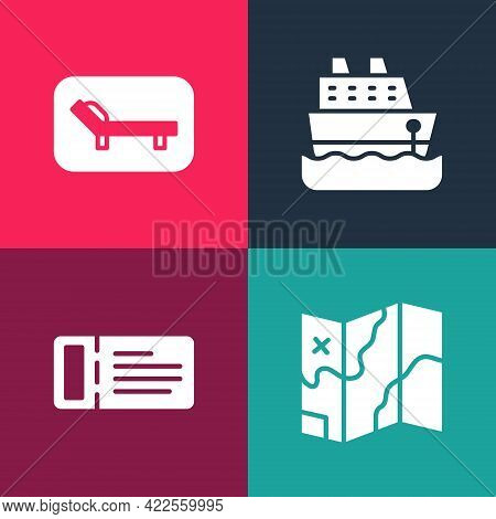 Set Pop Art Folded Map, Cruise Ticket, Ship And Sunbed And Umbrella Icon. Vector