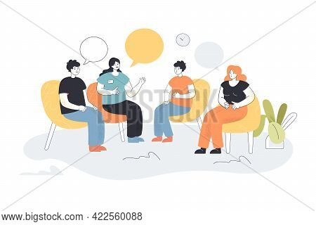 Group Therapy Vector Illustration. Men And Women Sitting In Circle Talking About Addiction Problem W