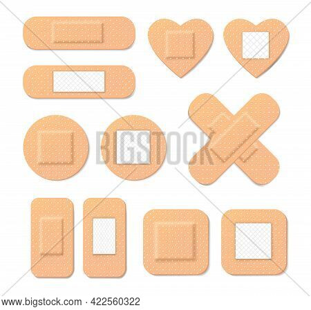 Collection Of Medical Plasters In Cartoon Style. Illustration Of Medical Plaster, Elastic Bandage Pa