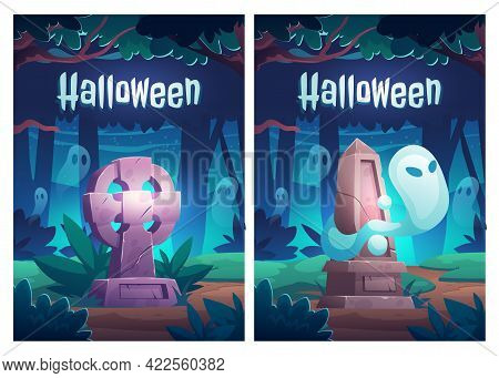 Halloween Poster With Ghosts On Old Cemetery. Night Landscape With Graveyard, Memorial Tombstones An