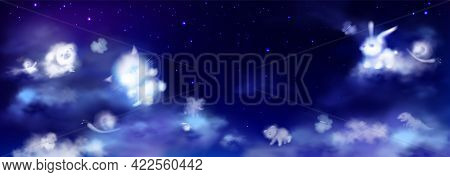 White Clouds In Shape Of Cute Animals On Night Sky With Stars. Baby Elephant, Bear, Cat, Little Pig,