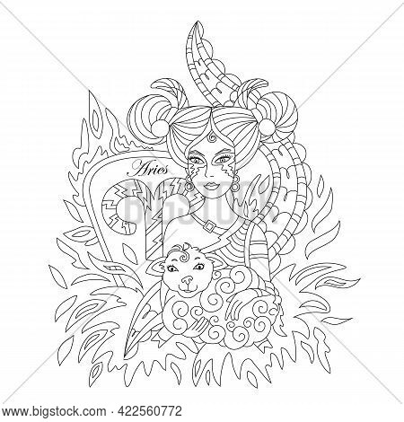 Aries Sign Of The Zodiac. Vector On White Background
