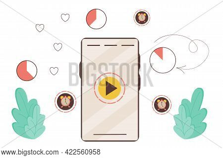 The Concept Of Ephemeral Content. Phone Screen Records Temporary Content With Limited Time. Vector I