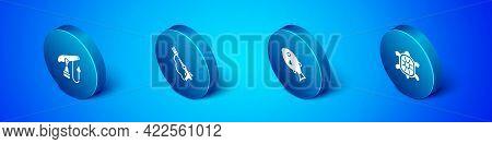 Set Isometric Fishing Harpoon, Tropical Fish, Turtle And Icon. Vector
