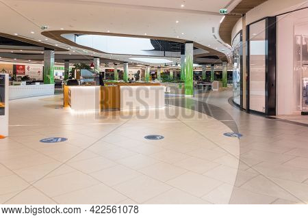 Zabrze. Poland 8 Maj 2021. Mall People Background In Platan City Center Zabrze. Interior Of Retail C