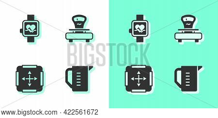 Set Measuring Cup, Smart Watch, Area Measurement And Scales Icon. Vector